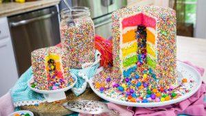 Dreamy Look Rainbow Ruffle Cake for Party Idea